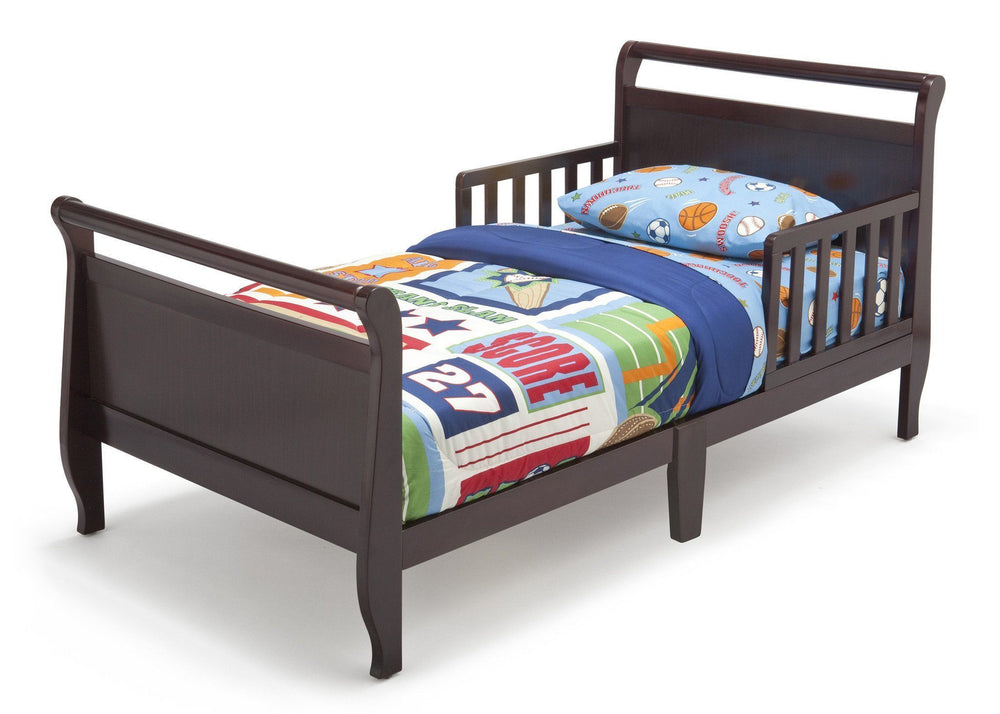 Delta Children Black Cherry Espresso (607) Contemporary Toddler Bed Left Side View a2a