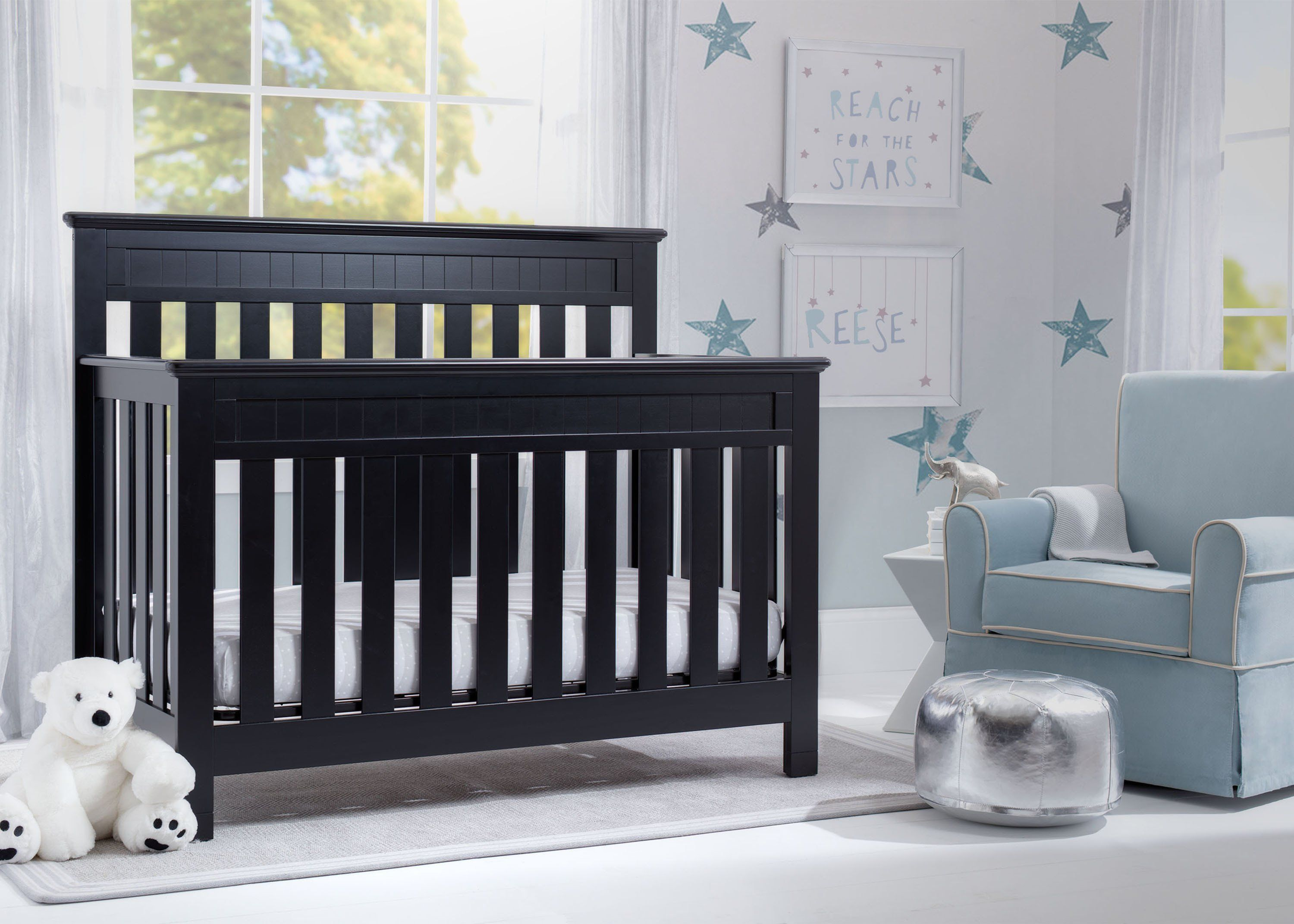 Delta Children Black (001) Chalet 4-in-1 Crib, room view, c1c