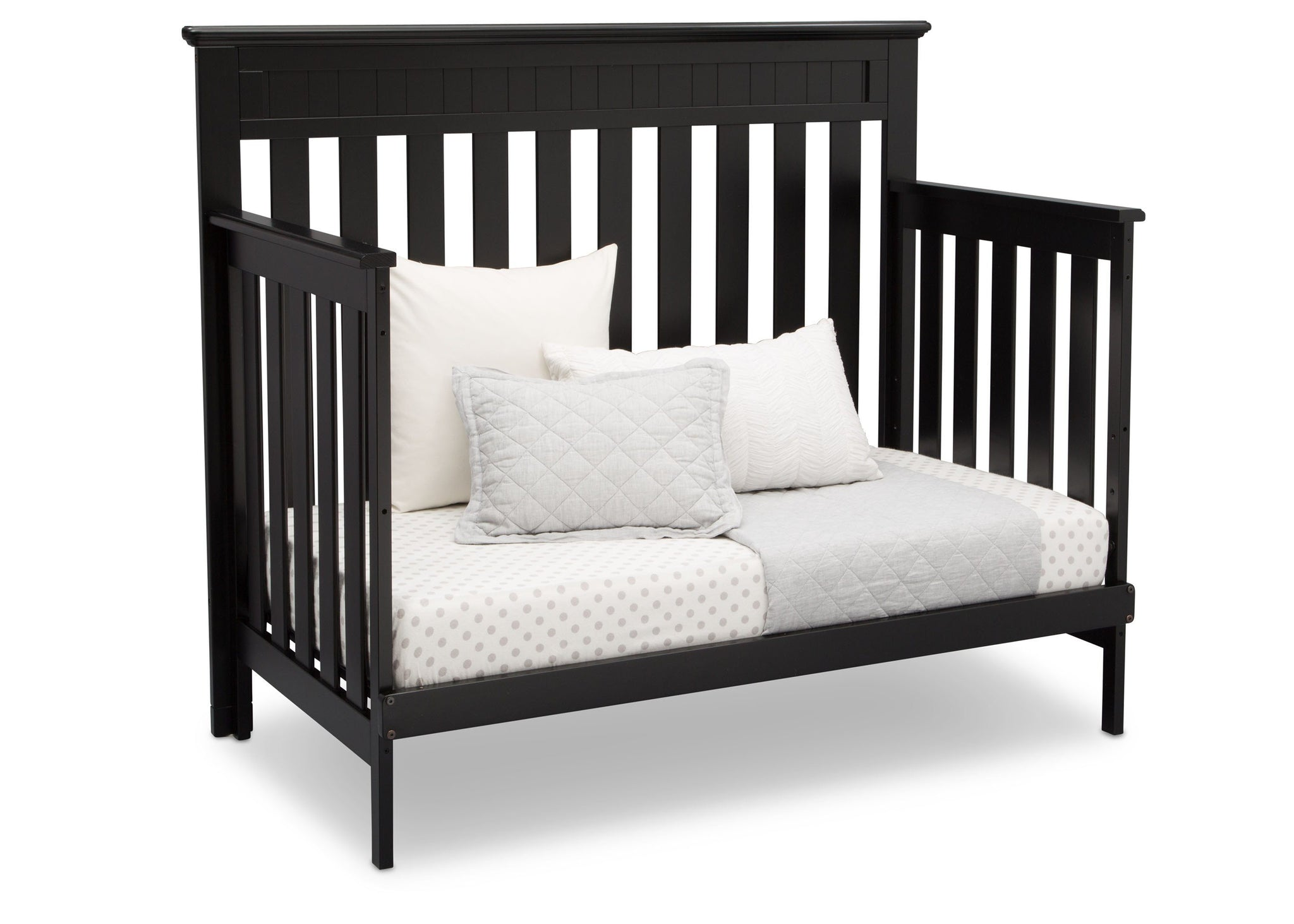 Delta Children Black (001) Chalet 4-in-1 Crib, angled conversion to daybed, c4c