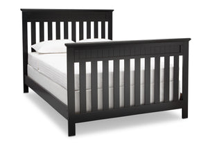Delta Children Black (001) Chalet 4-in-1 Crib, angled conversion to full size bed, c5