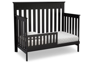 Delta Children Black (001) Chalet 4-in-1 Crib, angled conversion to toddler bed, c4c