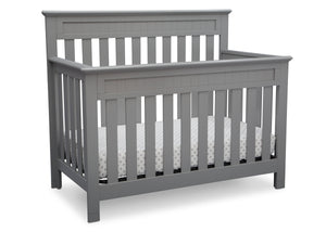 Delta Children Grey (026) Chalet 4-in-1 Crib, angled view, d3d