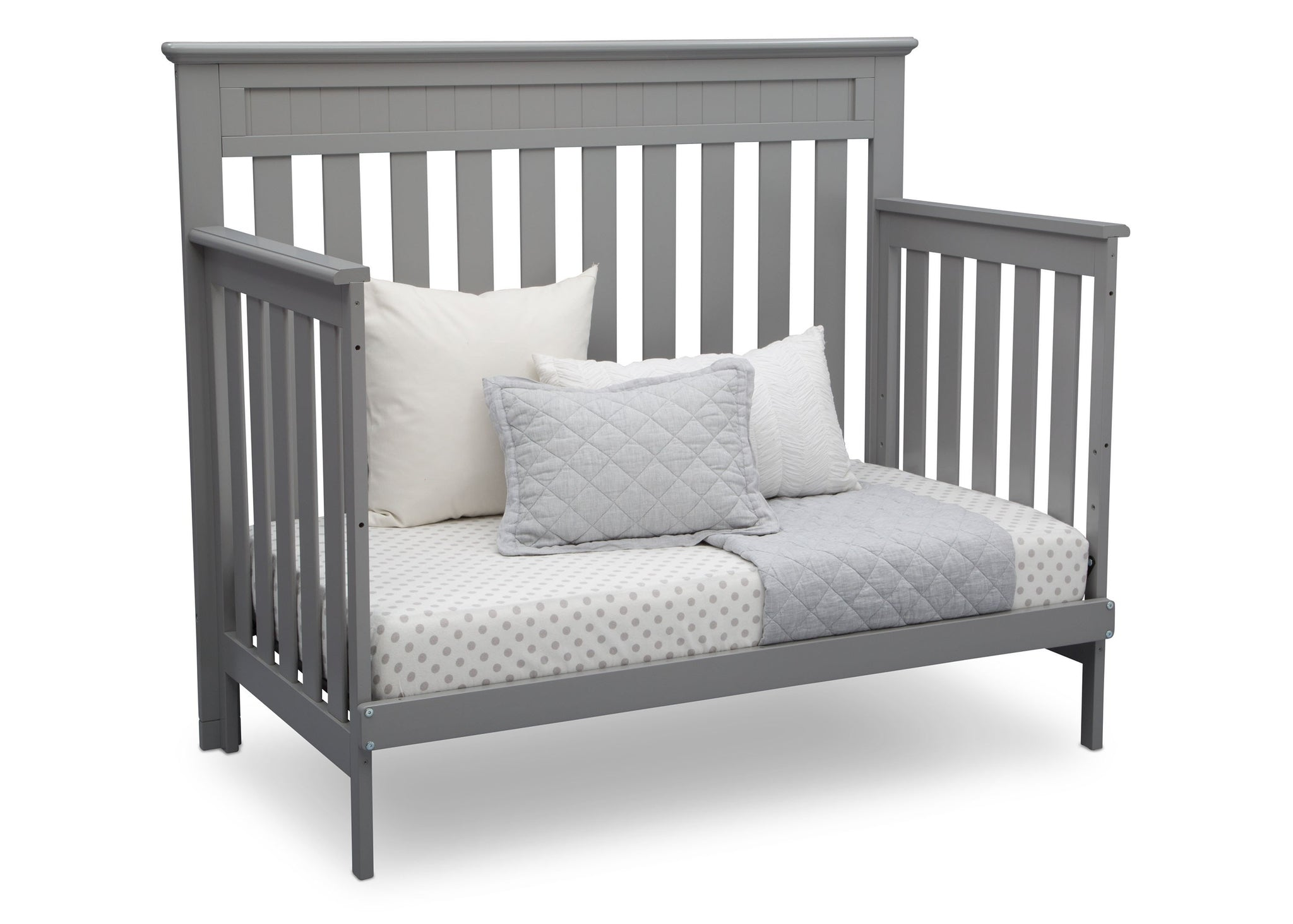 Delta Children Grey (026) Chalet 4-in-1 Crib, angled conversion to daybed, d4d