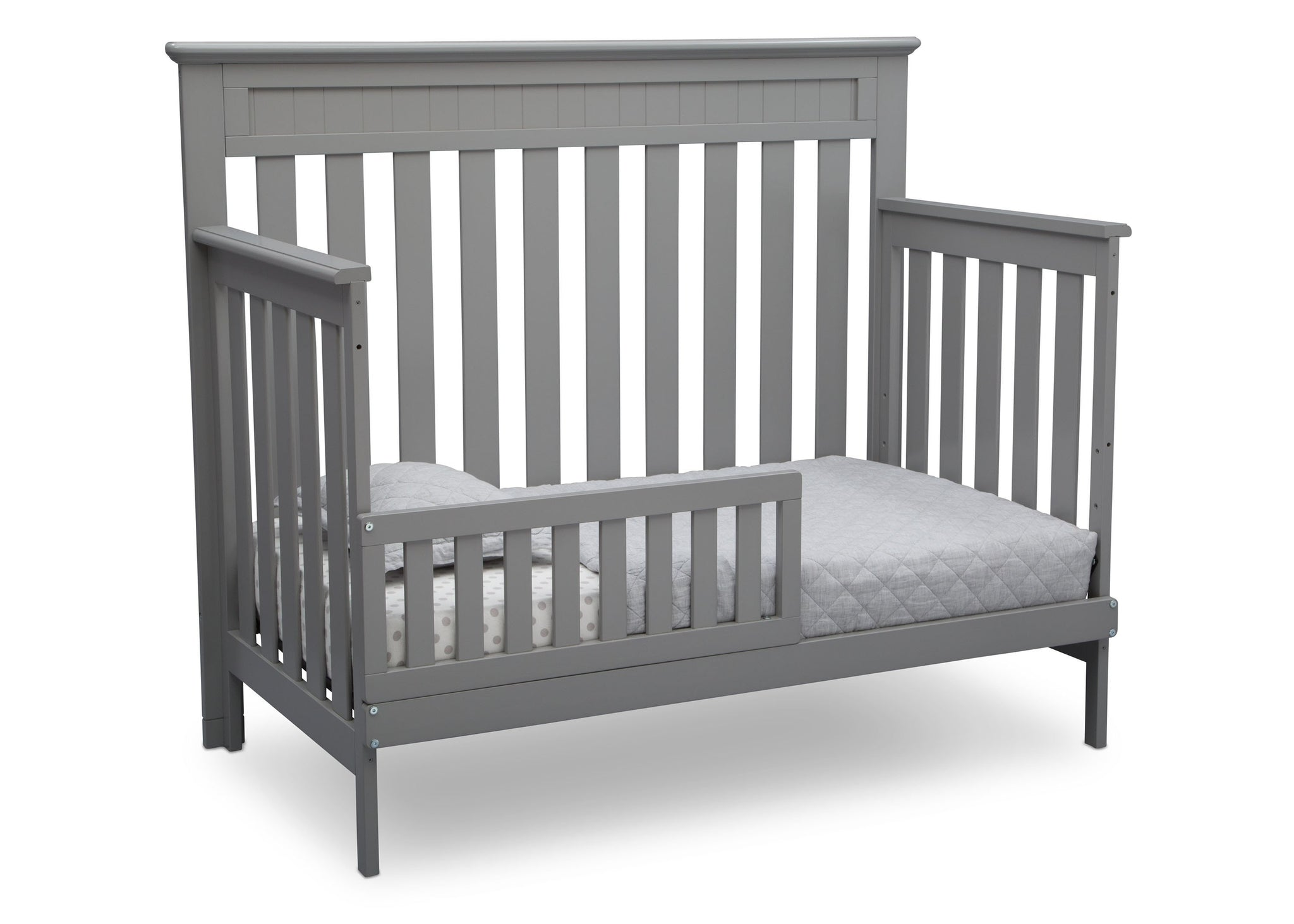 Delta Children Grey (026) Chalet 4-in-1 Crib, angled conversion to toddler bed, d5d