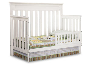 Delta Children White Ambiance (108) Chalet 4-in-1 Crib, Toddler Bed Conversion with Toddler Guard Rail b2b