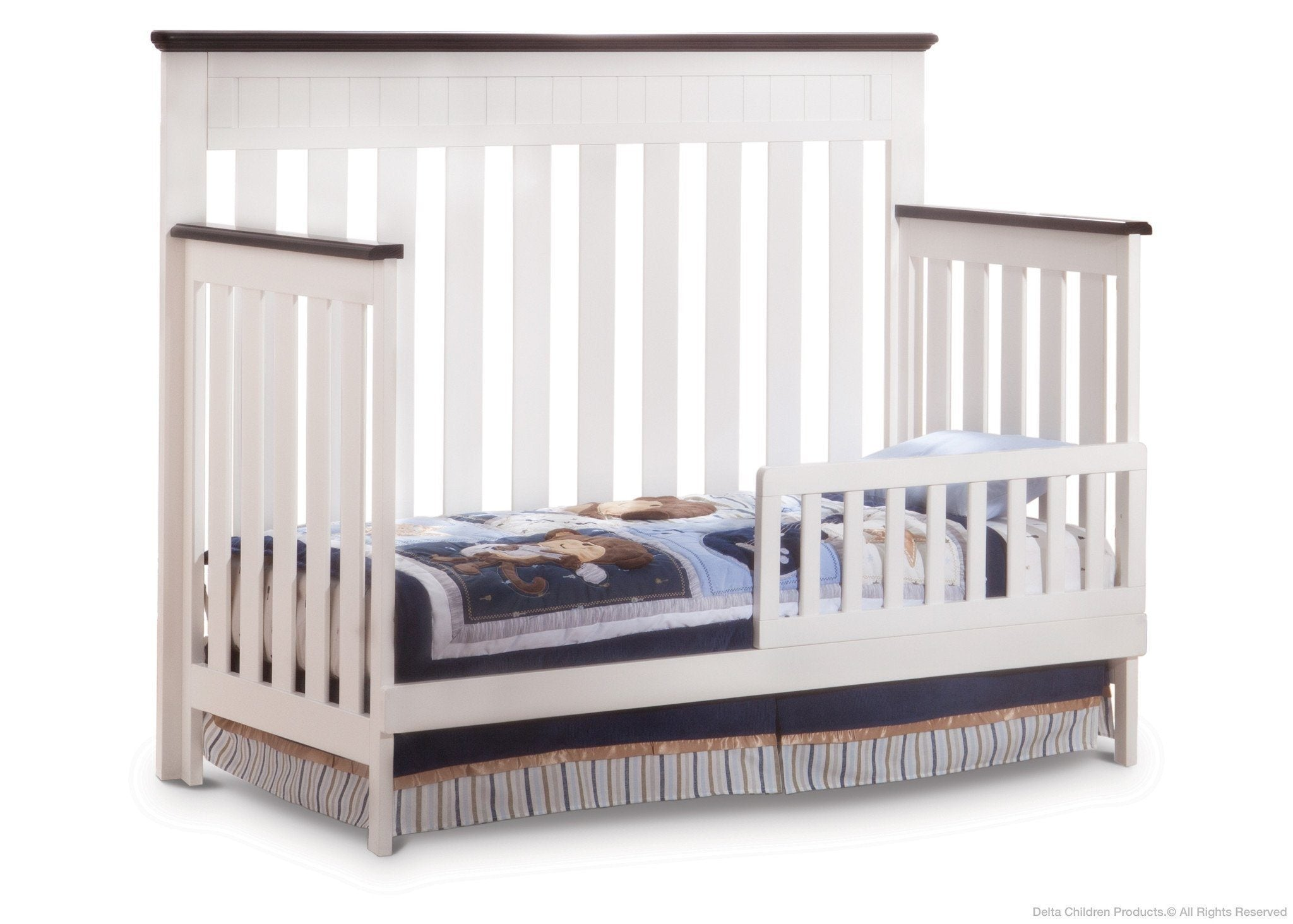 Delta Children White Ambiance/Dark Chocolate (127) Chalet 4-in-1, Toddler Bed Conversion with Toddler Guard Rail c3c