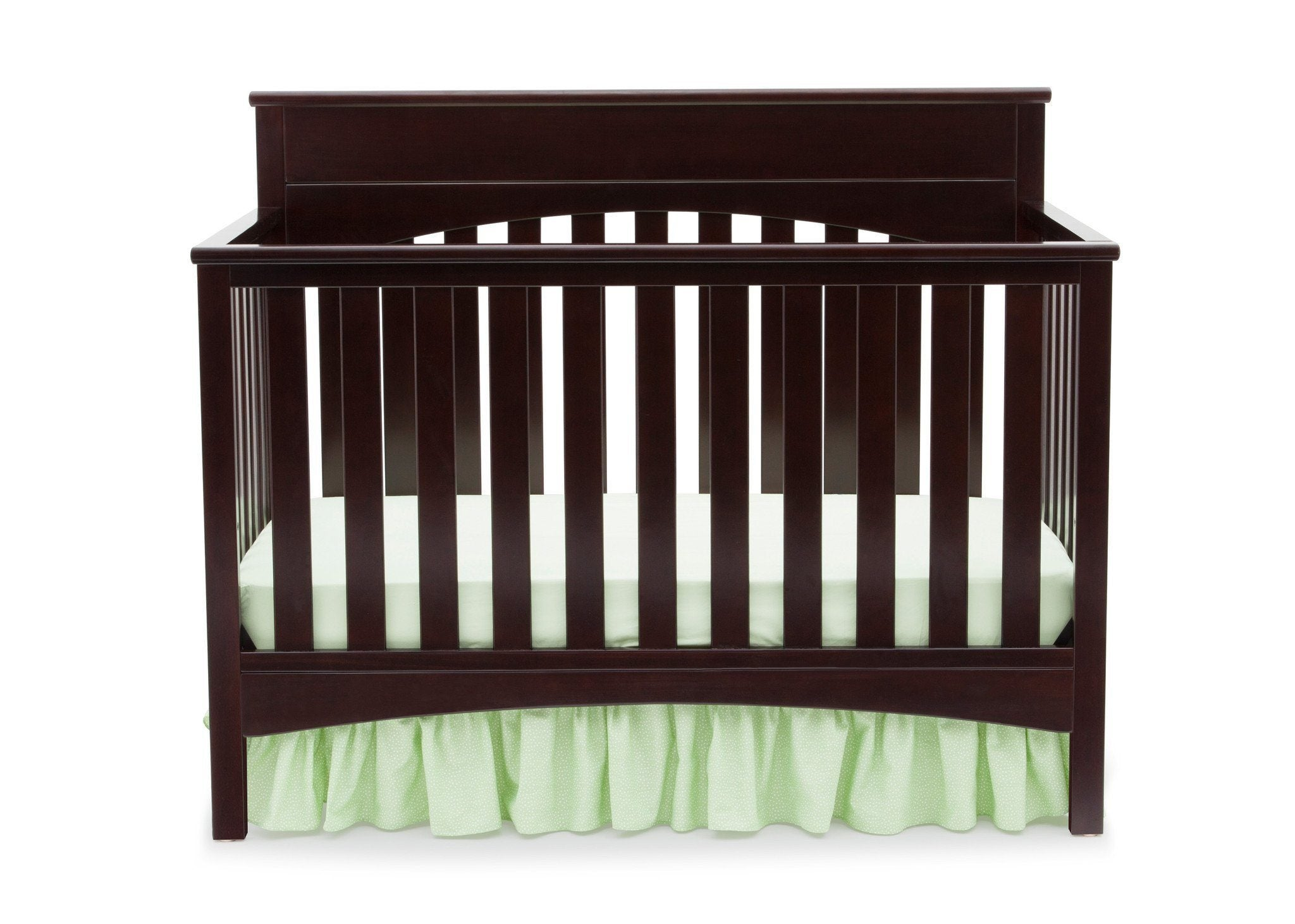 Delta Children Dark Chocolate (207) Bennington Lifestyle 4-in-1 Crib, Crib Conversion Front View b1b