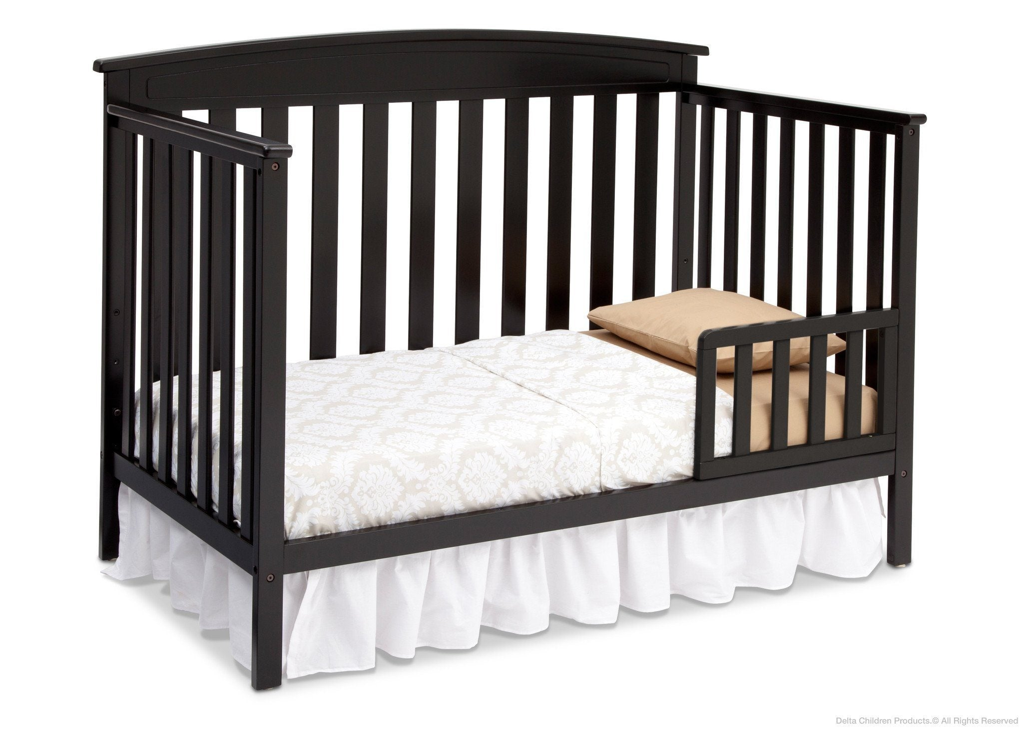 Delta Children Black (001) Gateway 4-in-1 Crib, Toddler Bed Conversion with Toddler Guardrail a4a