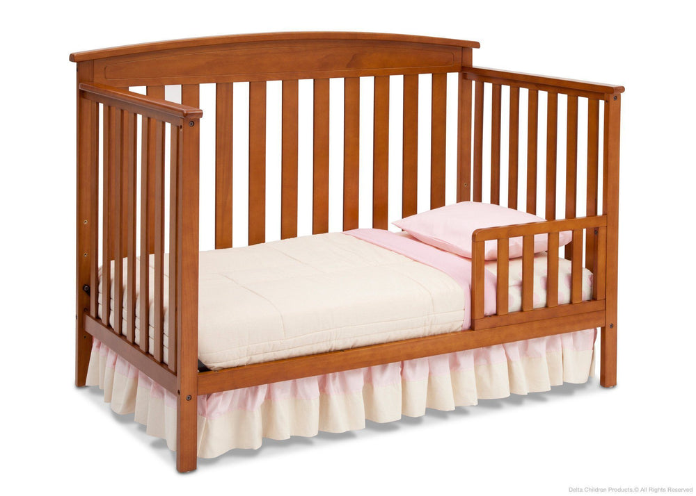 Delta Children Warm Honey (251) Gateway 4-in-1 Crib, Toddler Bed Conversion with Toddler Guardrail e4e