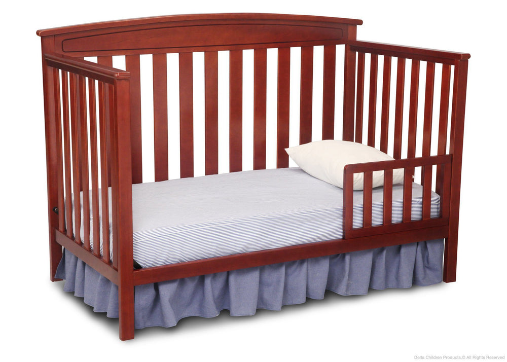 Delta Children Cabernet (648) Gateway 4-in-1 Crib, Toddler Bed Conversion with Toddler Guardrail f3f