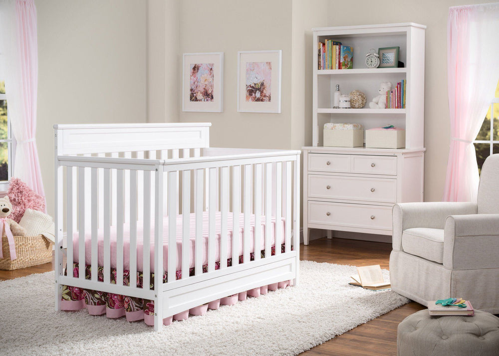 Delta Children White (100) Geneva 4-in-1 Crib with Props 2 b1b