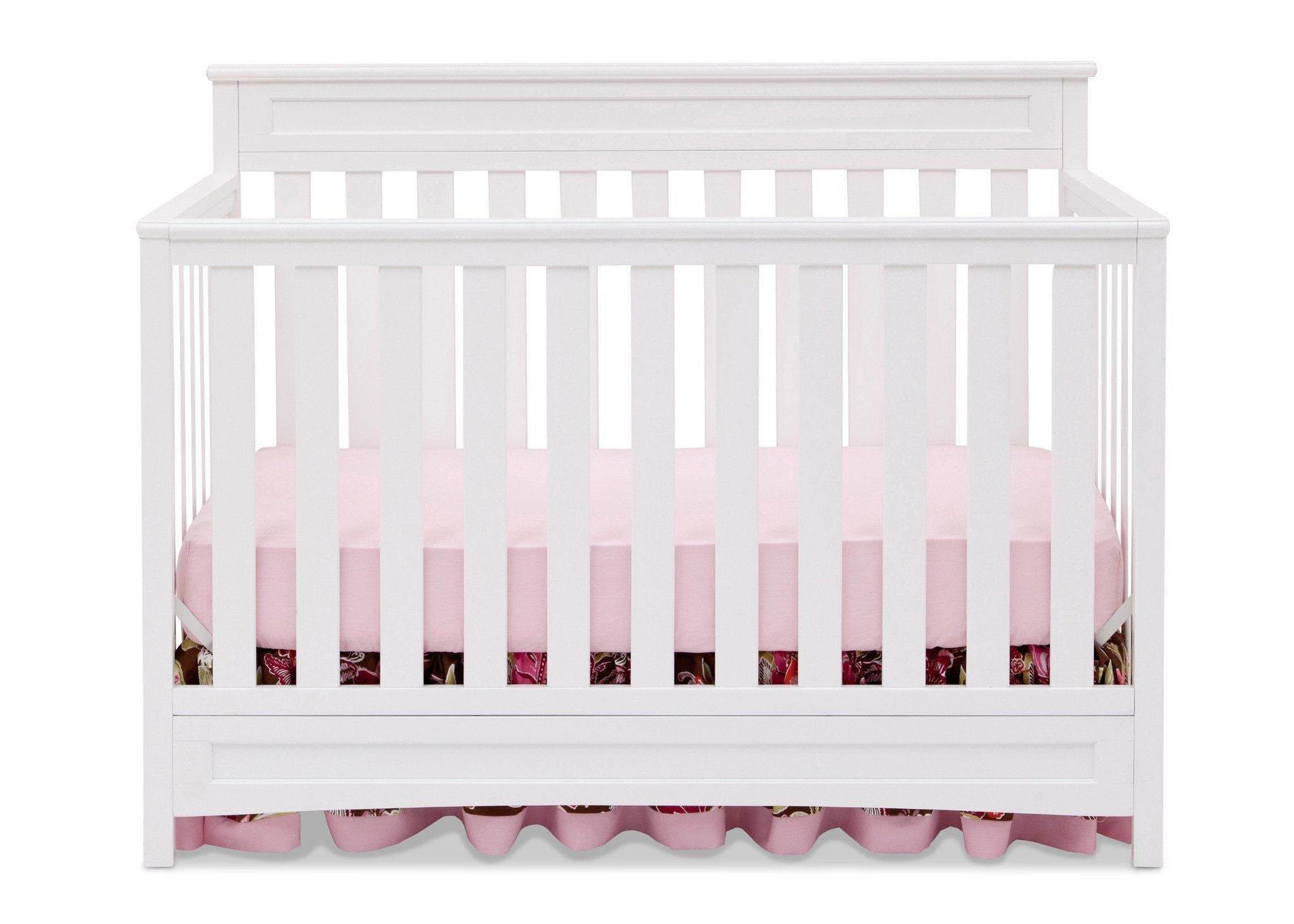 Delta Children White (100) Geneva 4-in-1 Crib, Front View b2b