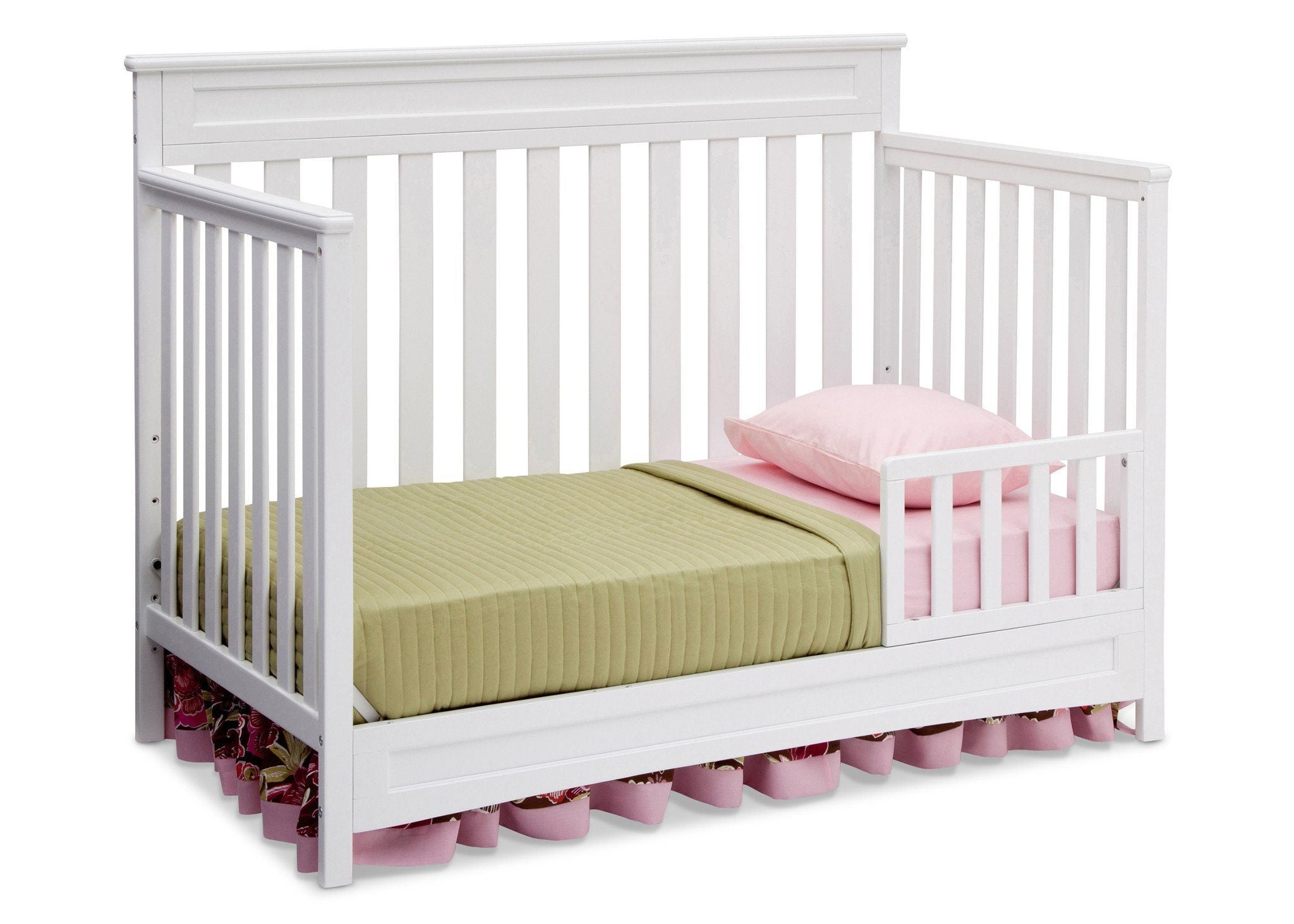 Delta Children White (100) Geneva 4-in-1 Crib, Toddler Bed Conversion with Toddler Guardrail b4b