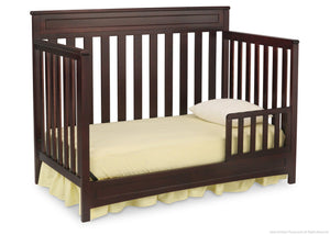 Delta Children Dark Chocolate (207) Geneva 4-in-1 Crib, Toddler Bed Conversion with Toddler Guardrail c3c