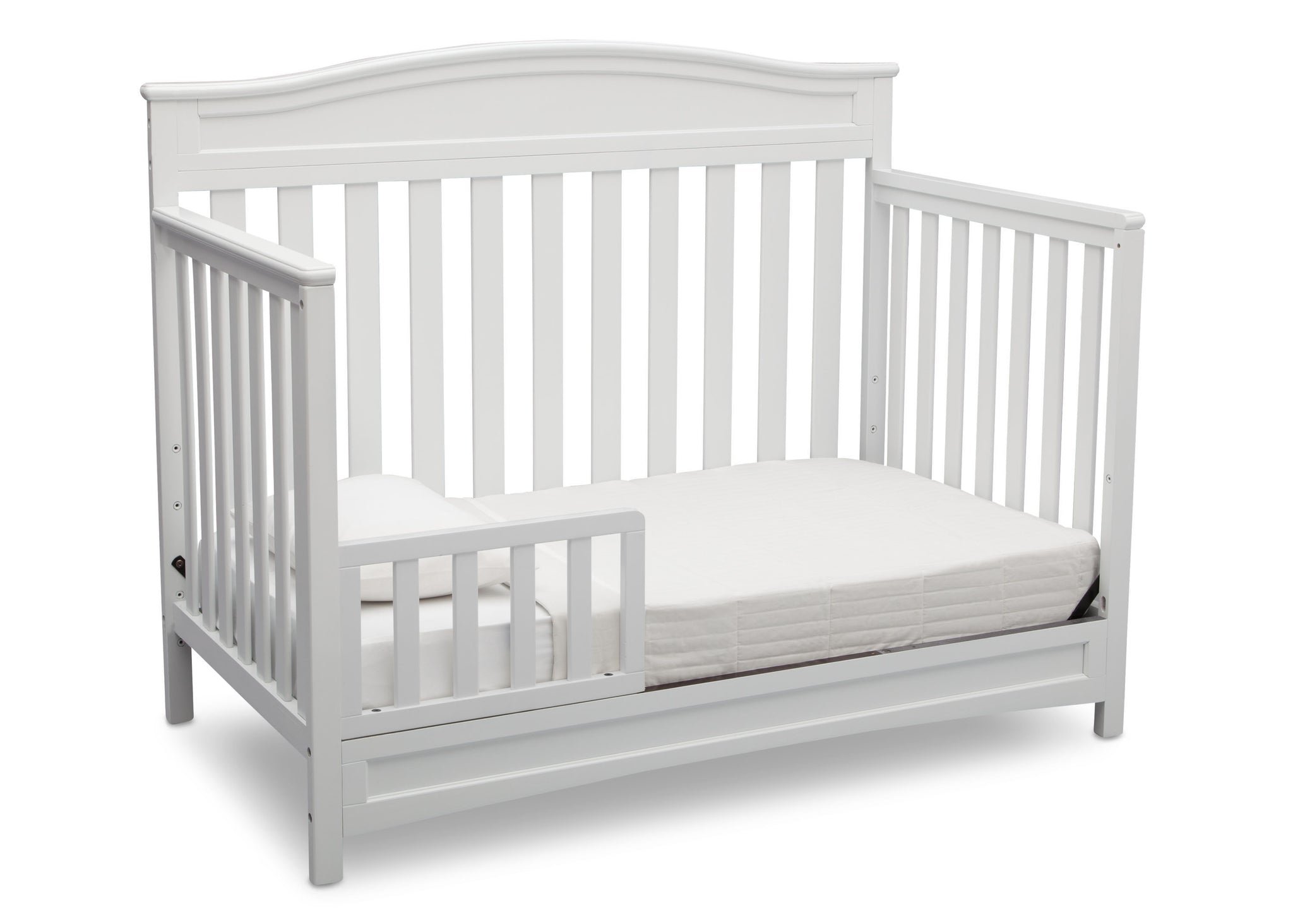 Delta Children White (100) Emery 4-in-1 Crib, Toddler Bed Conversion with Toddler Guardrail a4a