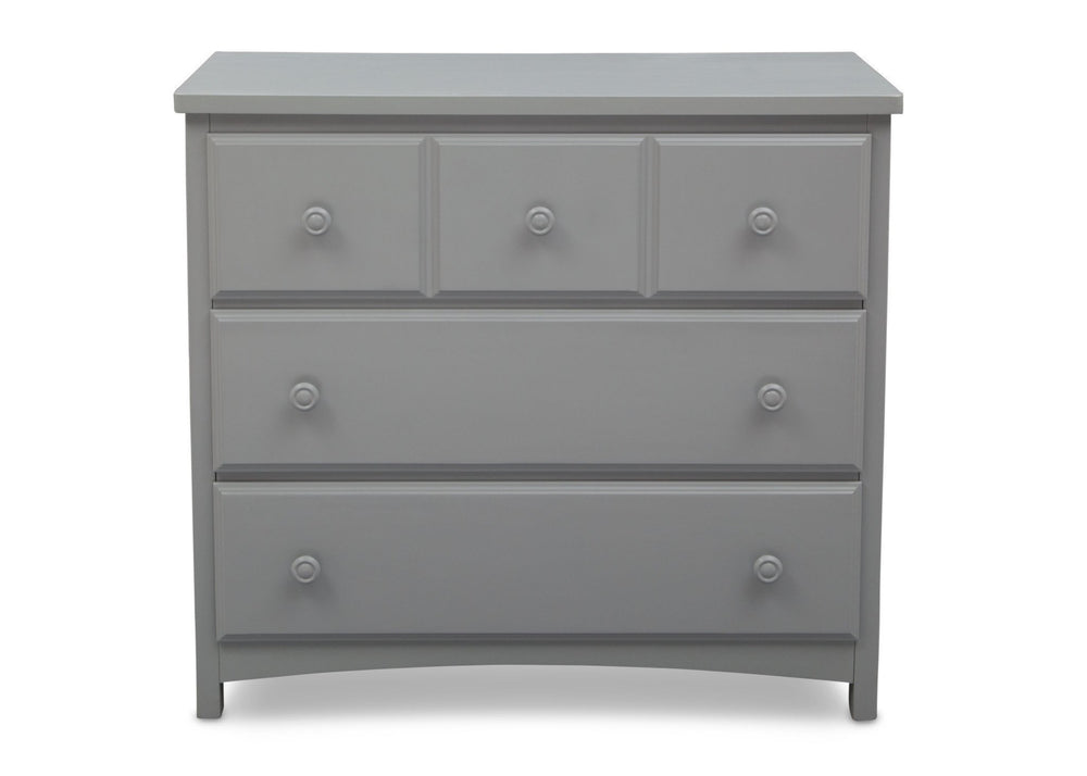 Delta Children Grey (026) 3 Drawer Dresser Front View a2a