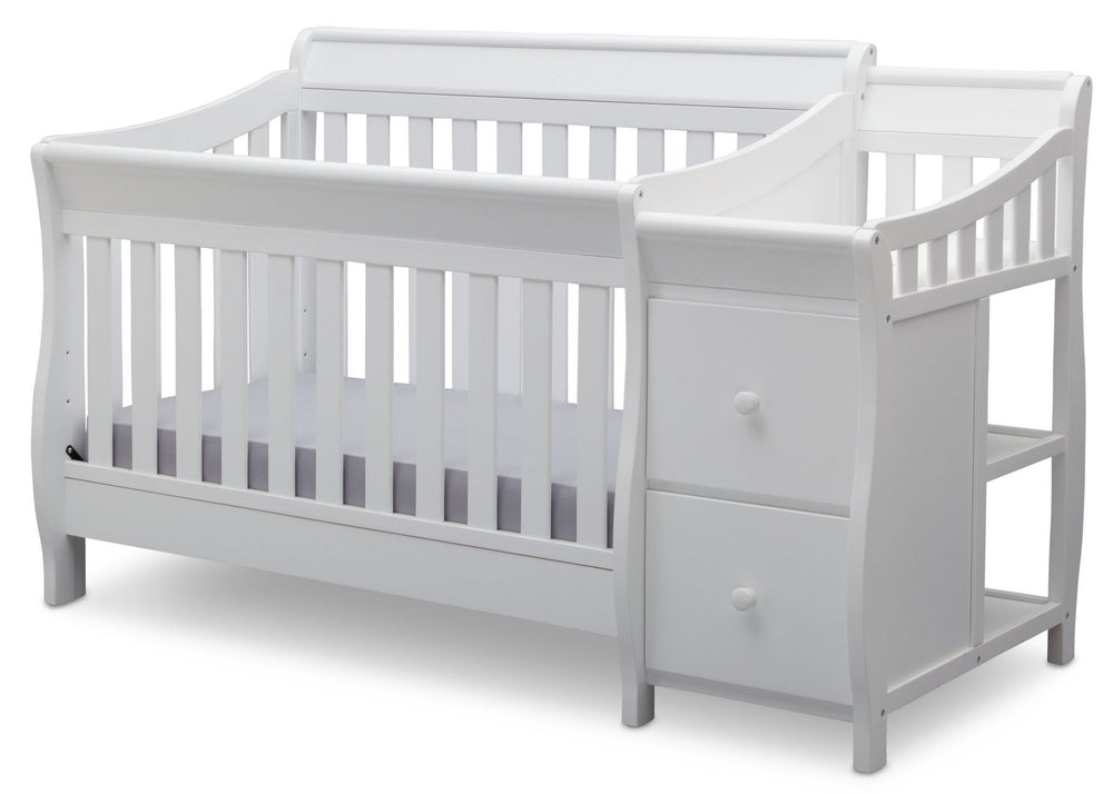 Delta Children White (100) Bentley S Crib-N-Changer Left Facing View b2b