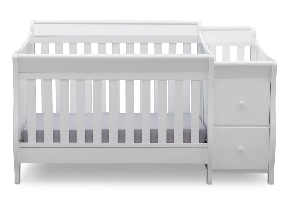 Delta Children White (100) Bentley S Crib-N-Changer Front Facing View b1b