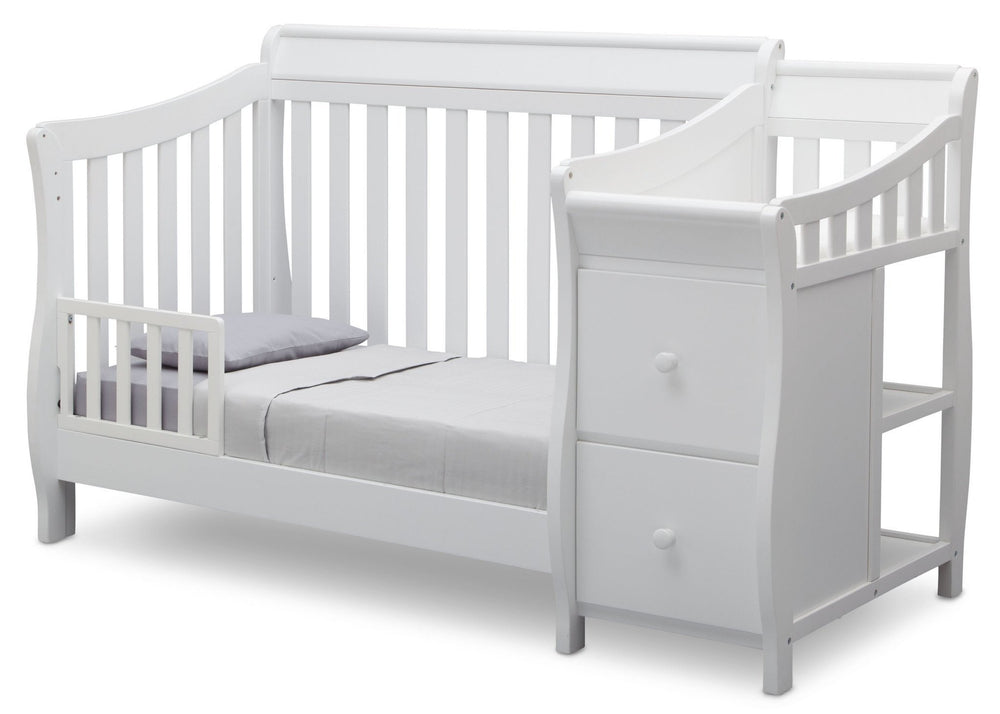 Delta Children White (100) Bentley S Crib-N-Changer Toddler Bed Conversion Left Facing View b3b