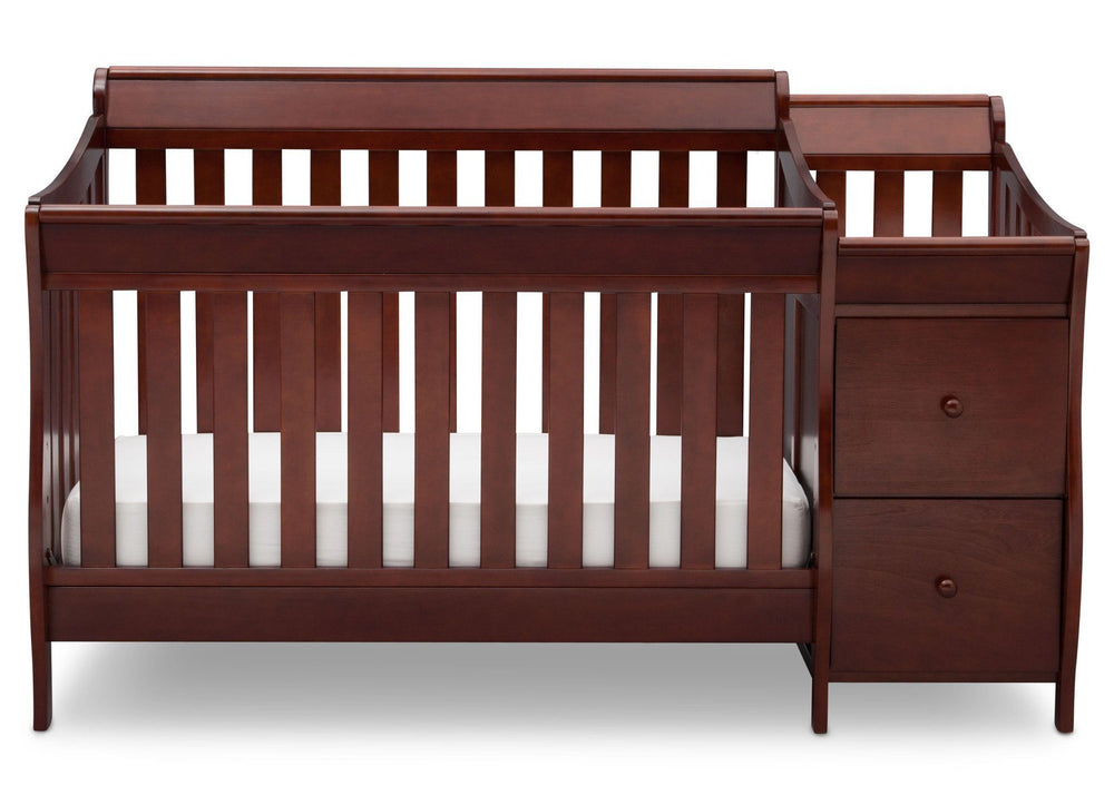 Delta Children Black Cherry/Espresso (607) Bentley S Crib-N-Changer Front Facing View c1c