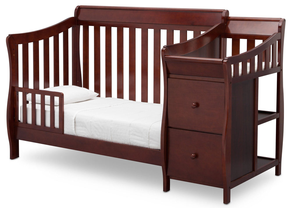 Delta Children Black Cherry/Espresso (607) Bentley S Crib-N-Changer Toddler Bed Conversion Left Facing View c3c