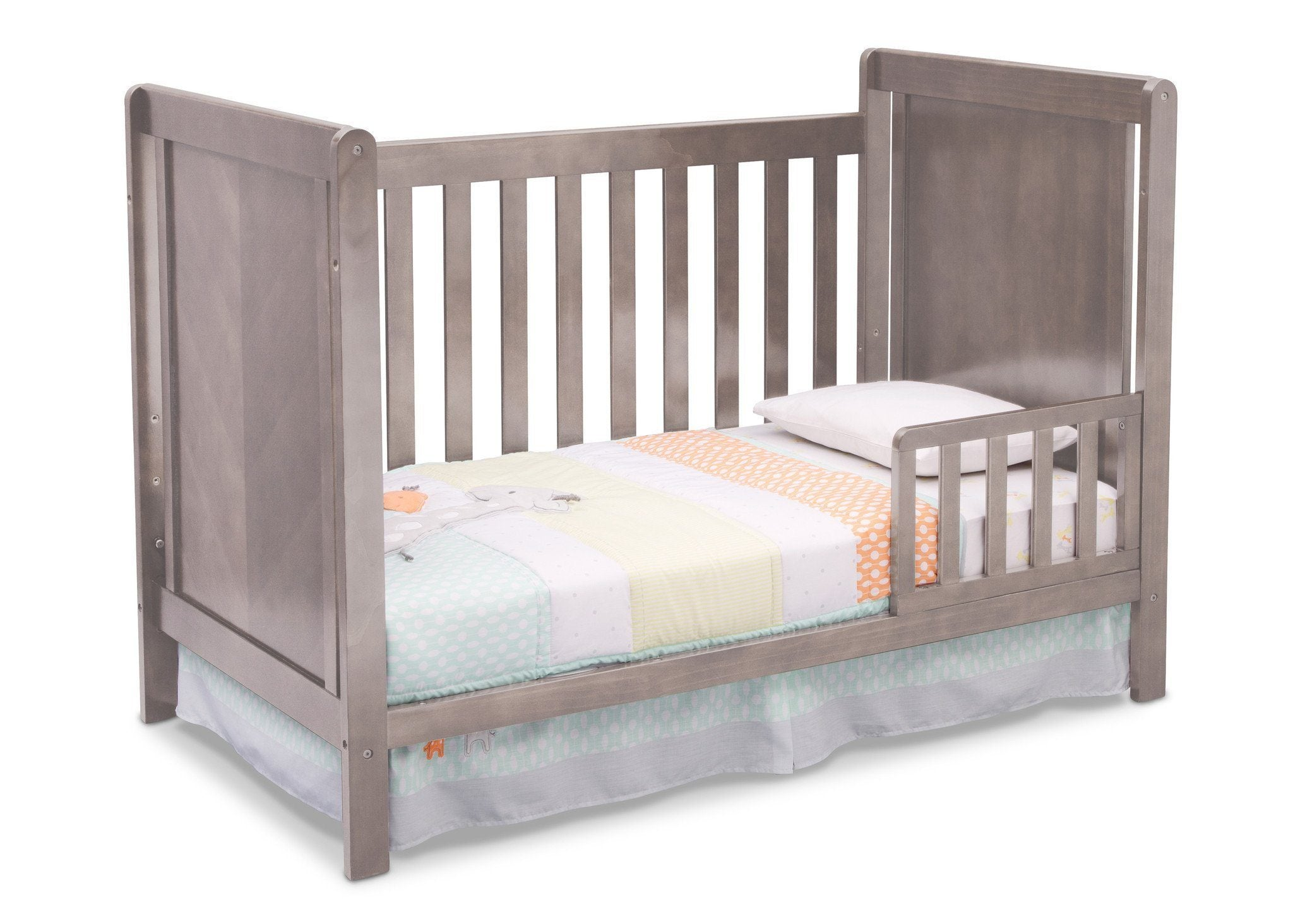 Delta Children Stained Grey (054) Cypress 4-in-1 Crib, Toddler Bed Conversion with Toddler Guard Rail a2a
