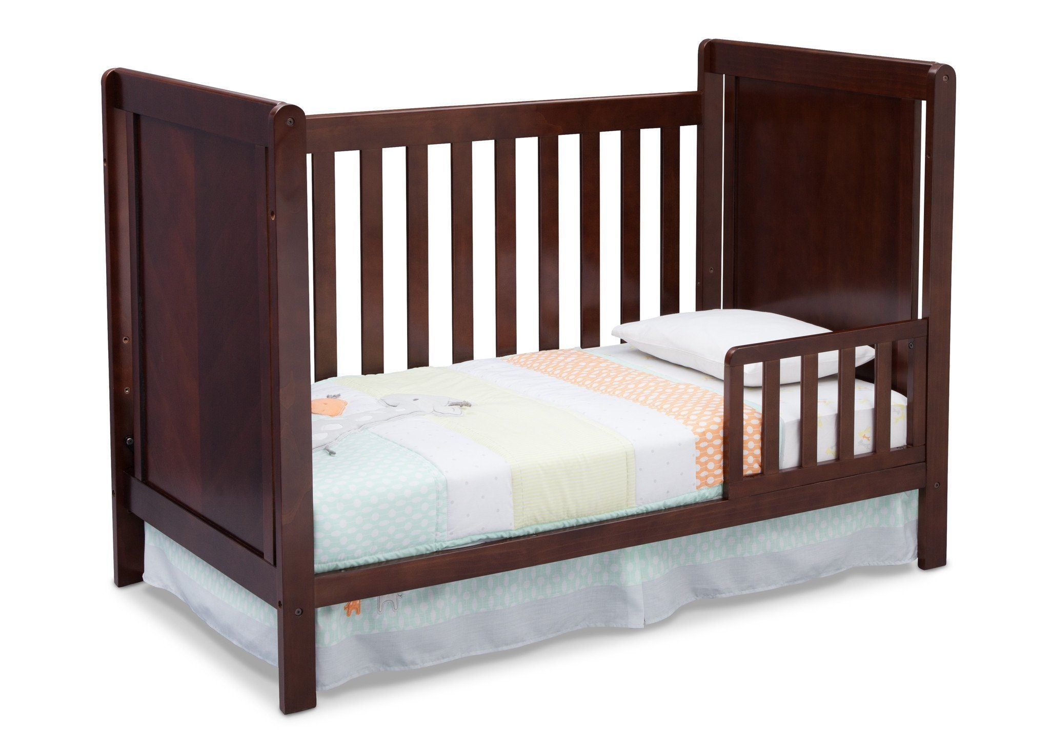 Delta Children Chocolate (204) Cypress 4-in-1 Crib, Toddler Bed Conversion with Toddler Guard Rail b5b