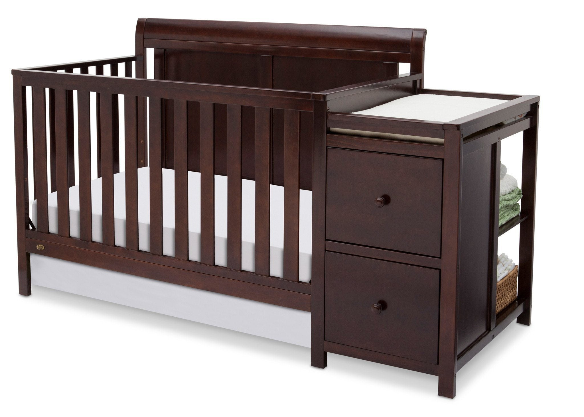 luxury sturdy bennington toddler cribs wood of featuring children convertible rails construction the delta curved for bed crib