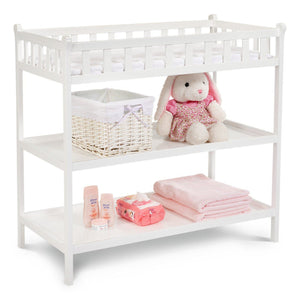 Delta Children White (100) Charleston/Winter Park Changing Table Side View a2a