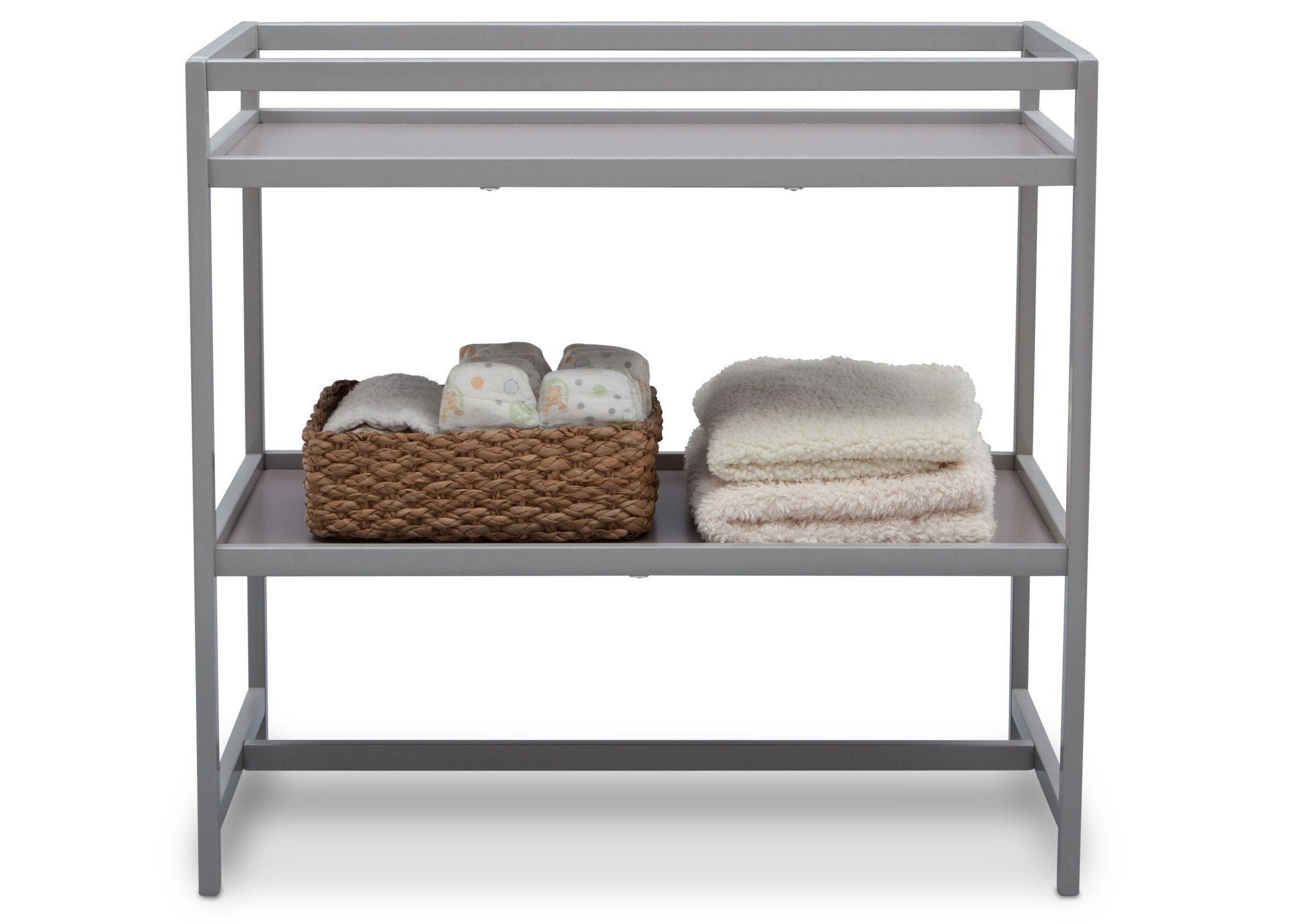 Delta Children Grey (026) Harbor Changing Table, Front View with Props a3a