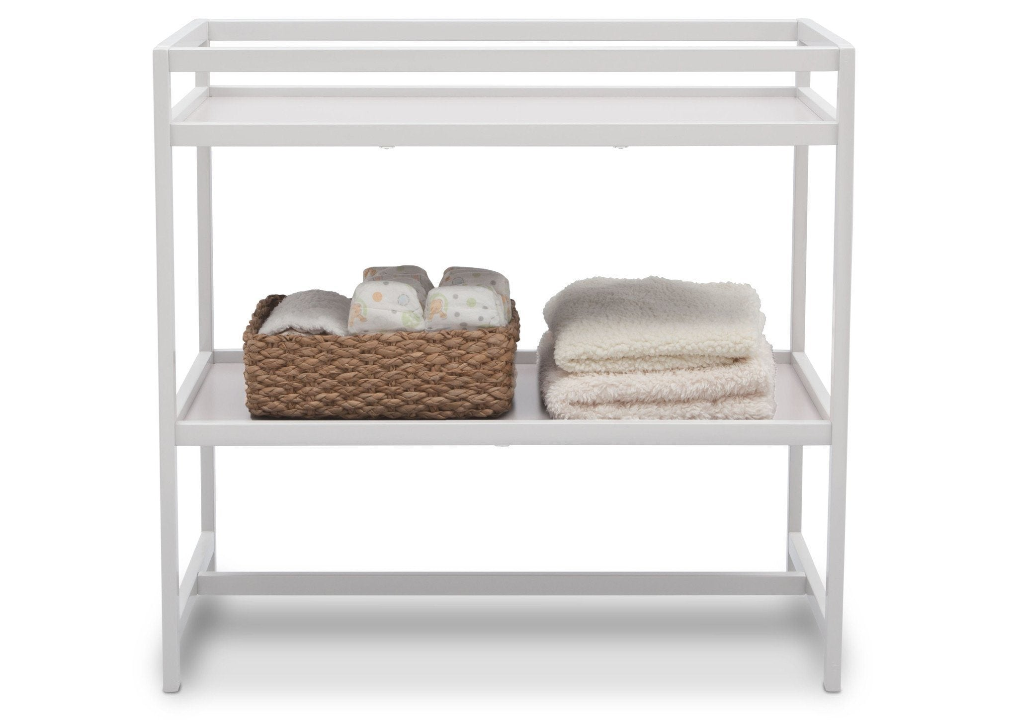 Delta Children White (100) Harbor Changing Table, Front View with Props b3b