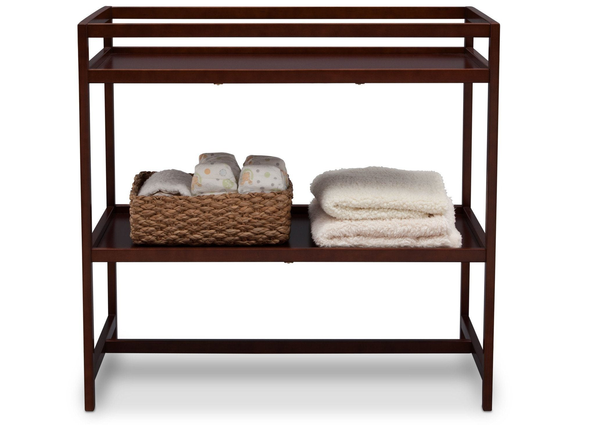 Delta Children Dark Chocolate (207) Harbor Changing Table, Front View with Props c3c
