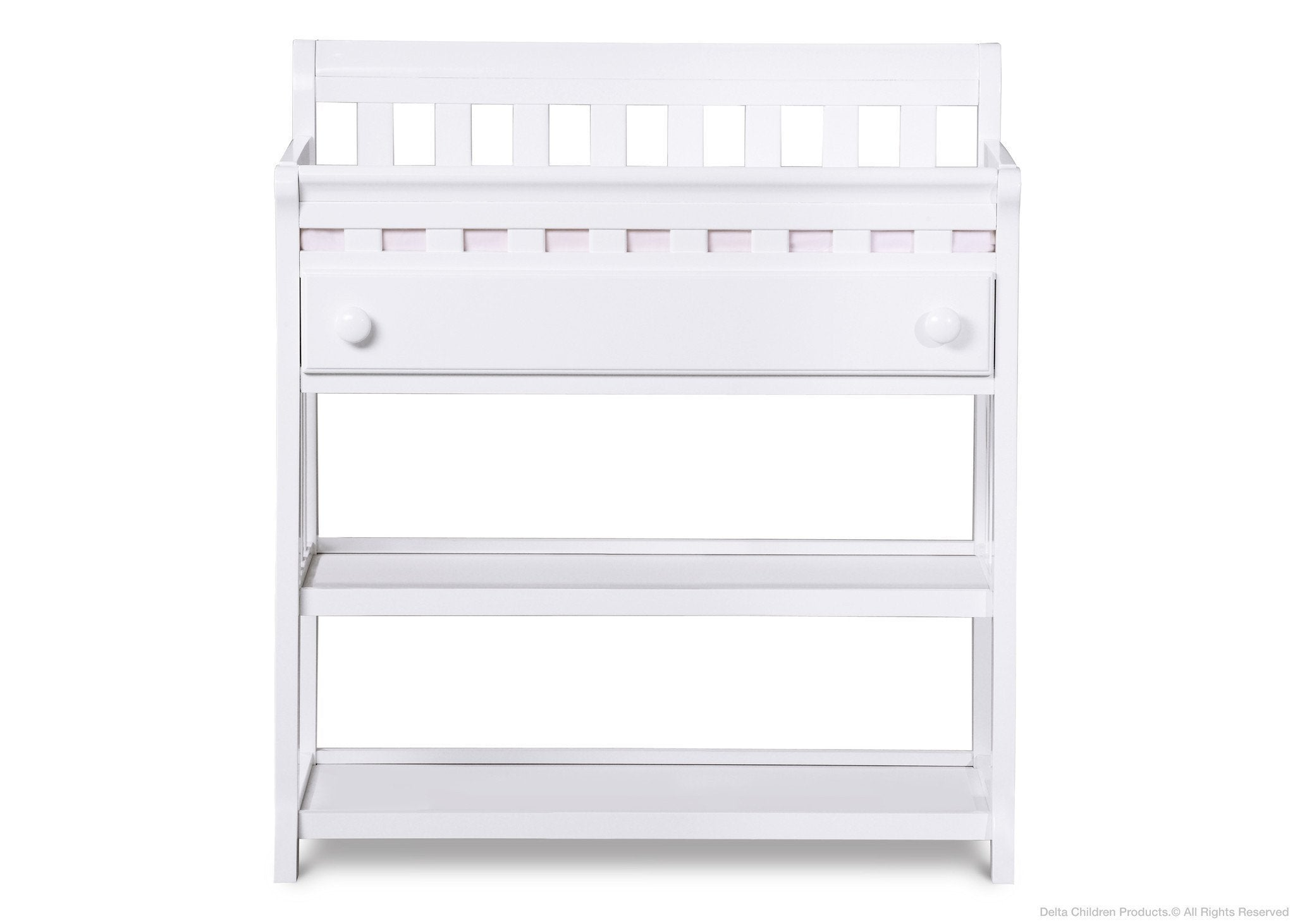 Delta Children White (100) Solutions Changing Table Front View a1a