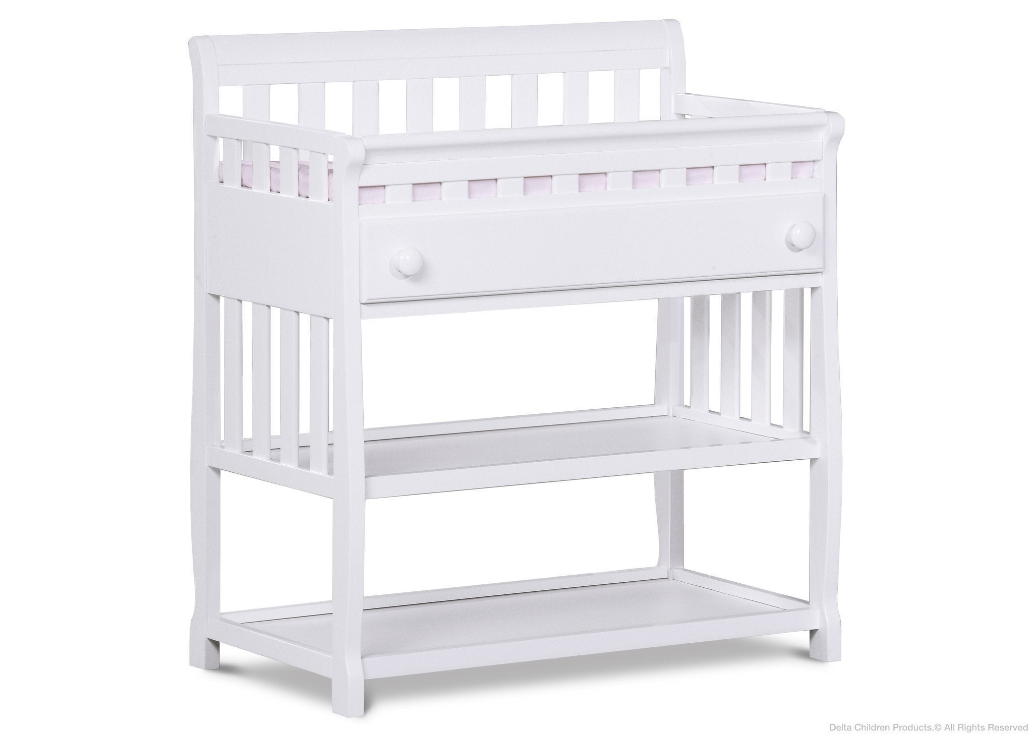Delta Children White (100) Solutions Changing Table Side View a2a
