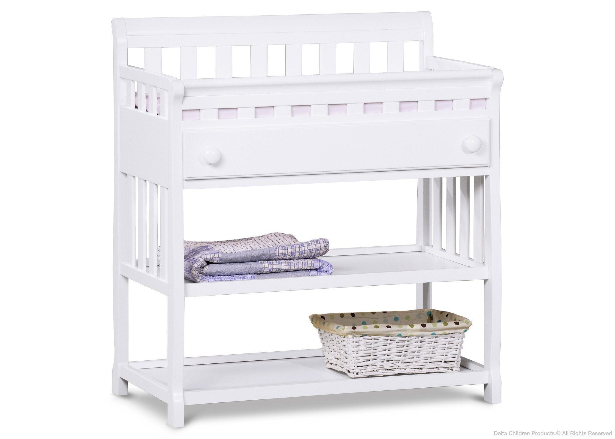 Delta Children White (100) Solutions Changing Table Side View with Props a3a
