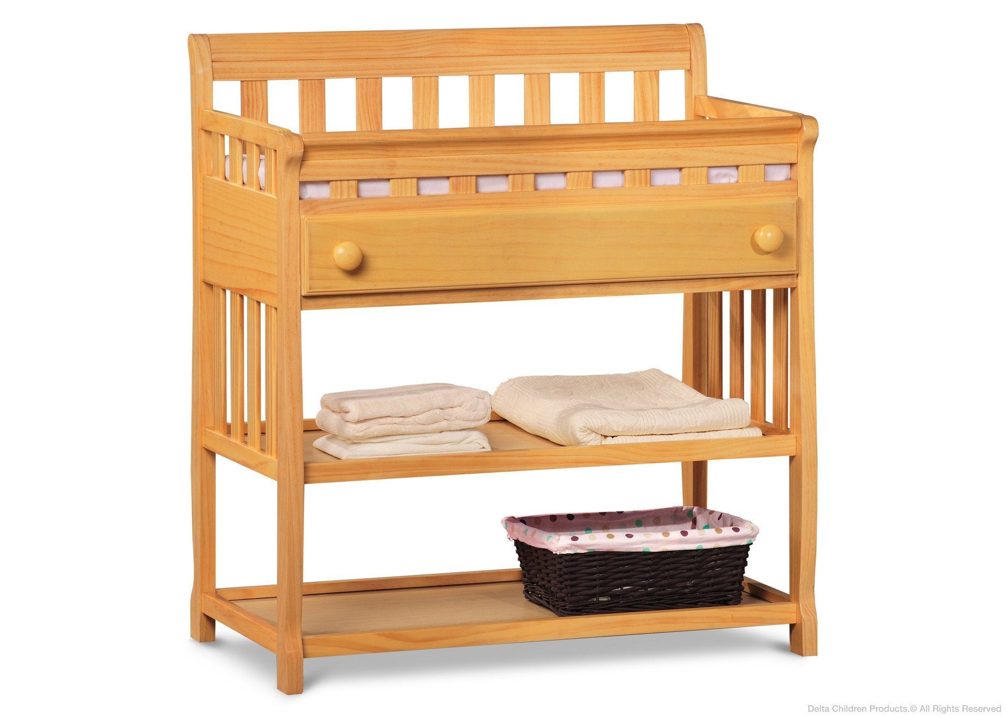 ... Delta Children Natural (260) Solutions Changing Table Side View With  Props B3b ...