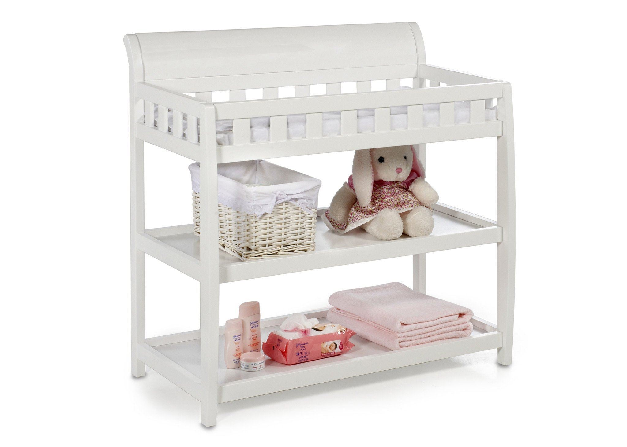 Attractive Delta Children White (100) Bentley Changing Table, Right View With Props  A1a ...