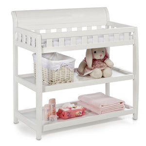 Delta Children White (100) Bentley Changing Table, Right View with Props a1a