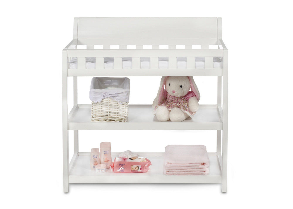 Delta Children White (100) Bentley Changing Table, Front View with Props a2a