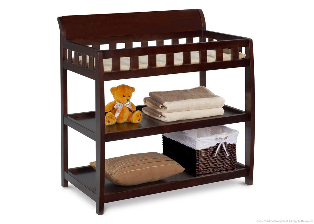 Delta Children Chocolate (204) Bentley Changing Table, Right View with Props b2b
