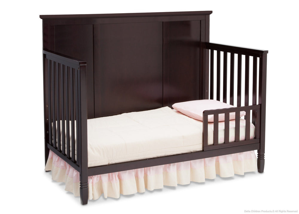 Delta Children Dark Chocolate (207) Epic 4-in-1 Crib, Toddler Bed Conversion with Toddler Guardrail c2c