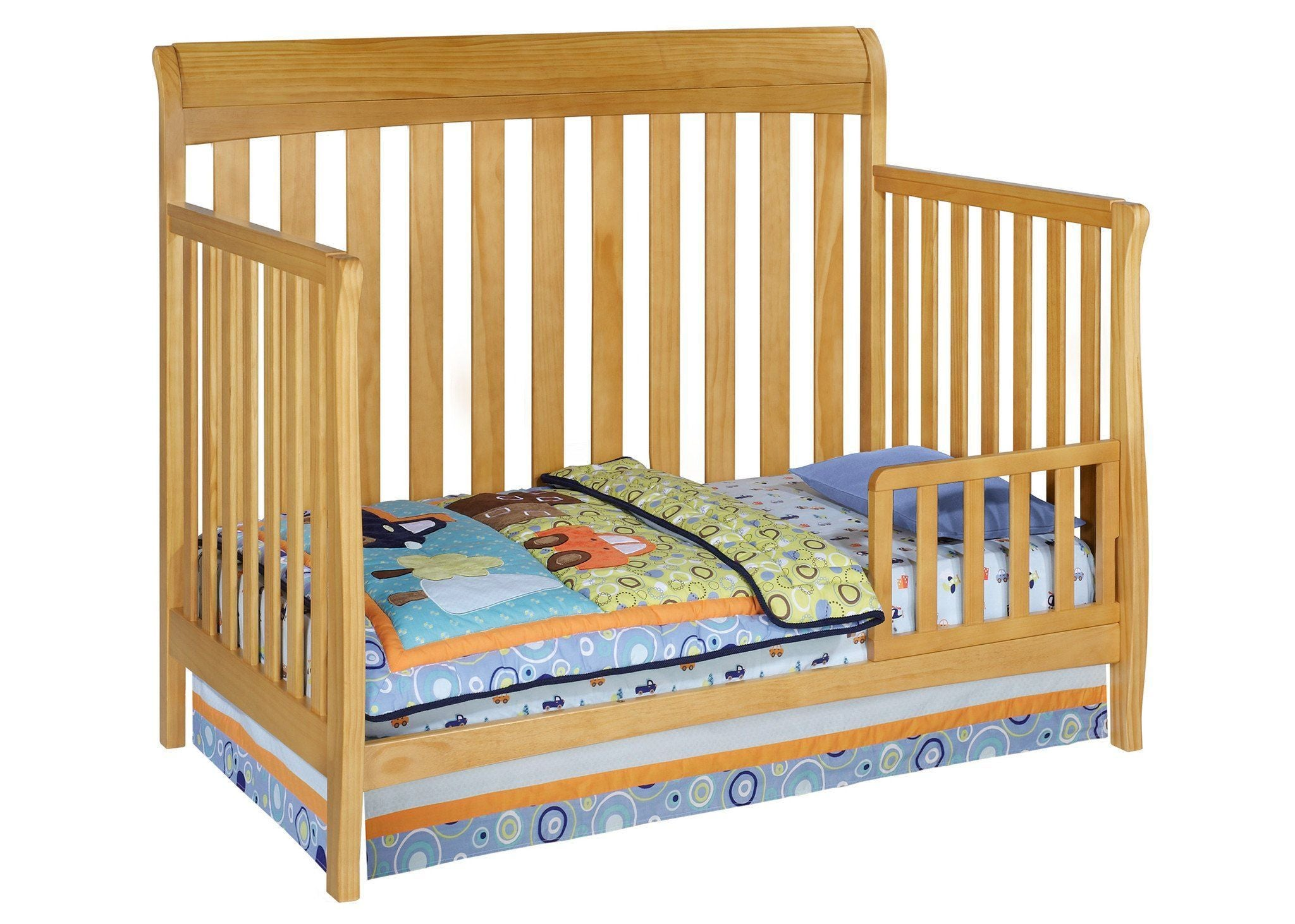 Delta Children Natural (260) Marquis 4-in-1 Crib, Toddler Bed Conversion Side View c3c