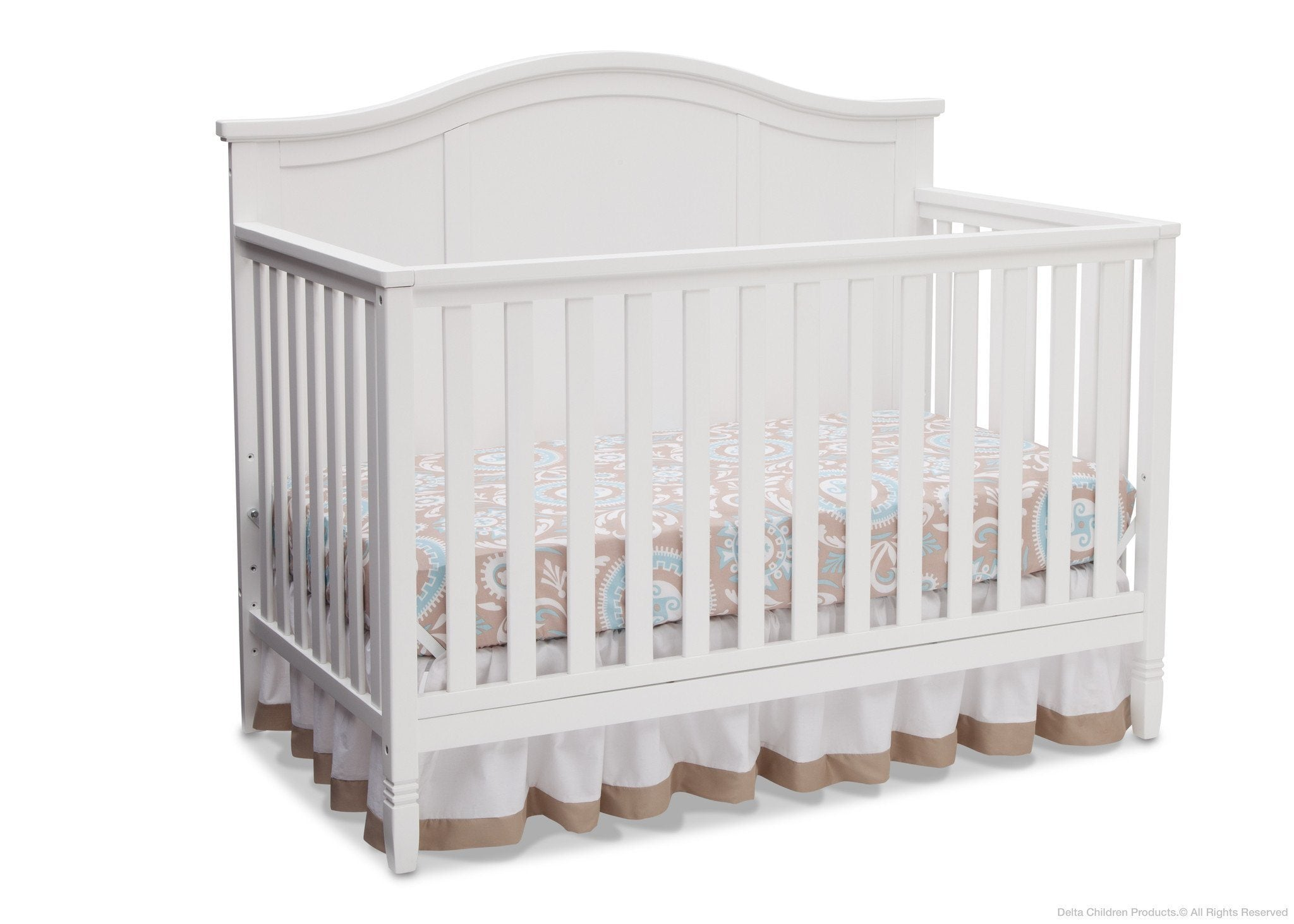 Delta Children White (100) Madrid 4-in-1 Crib, Right Crib Silo View