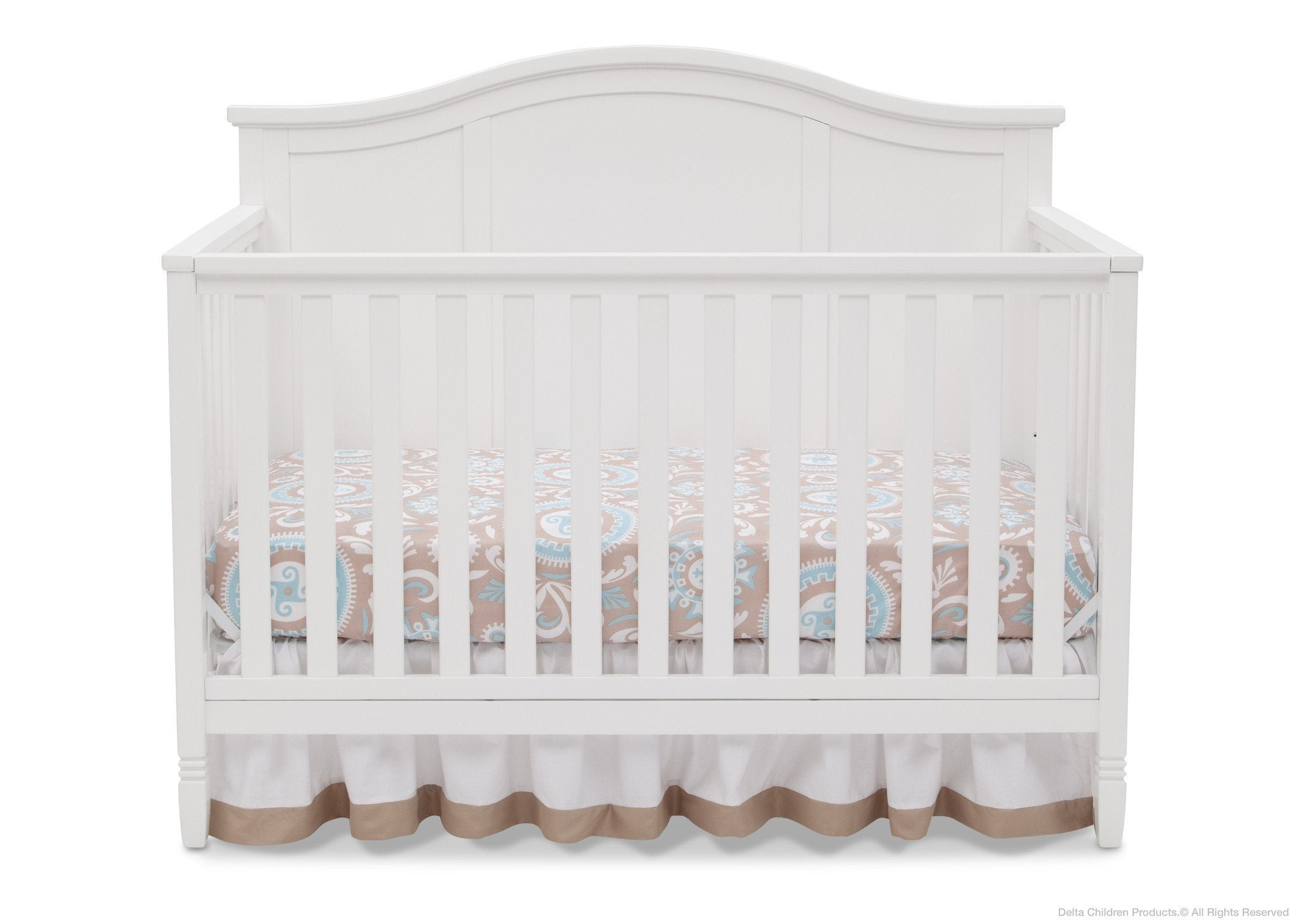 Delta Children White (100) Madrid 4-in-1 Crib, Front Crib Silo View