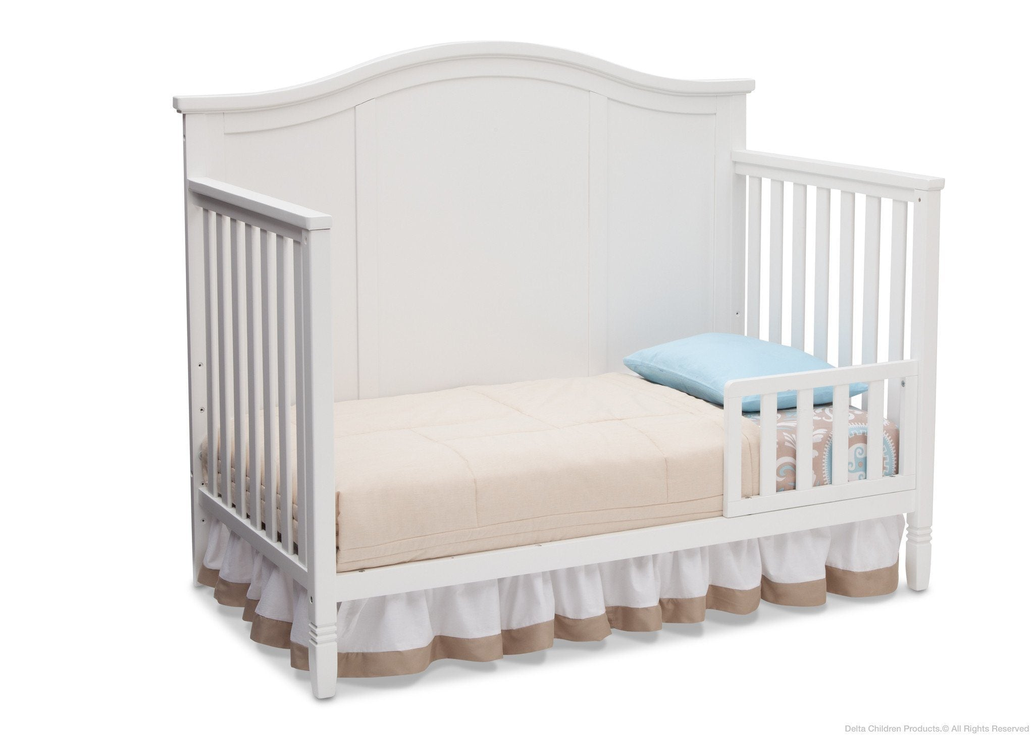 Delta Children White (100) Madrid 4-in-1 Crib, Toddler Bed Silo View