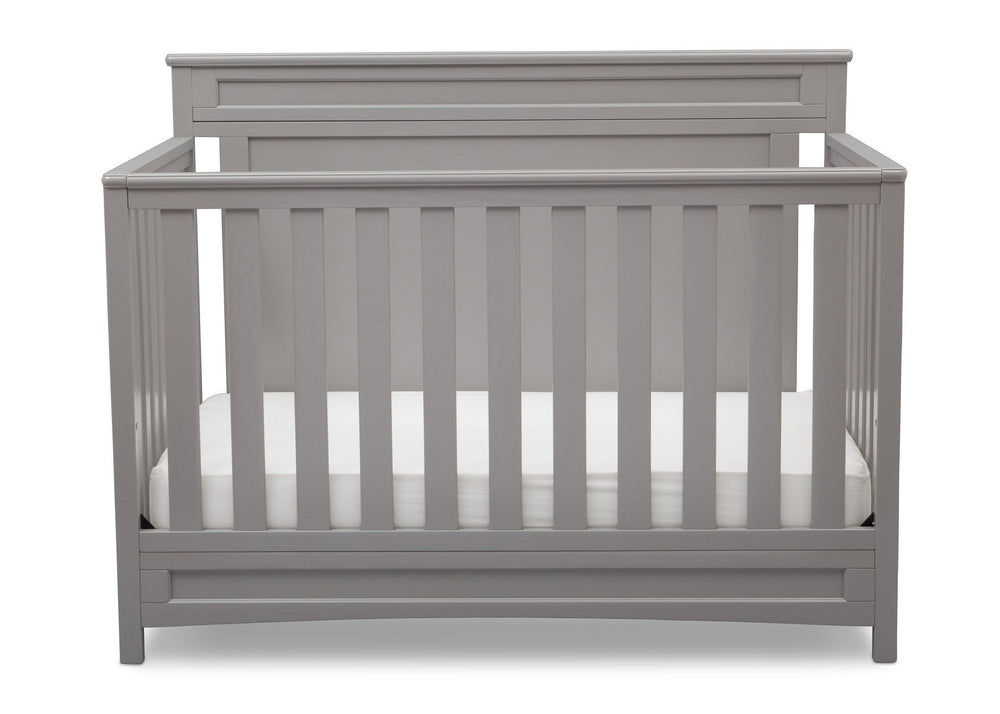 Delta Children Grey (026) Prescott 4-in-1 Crib, Crib Conversion Front View a2a