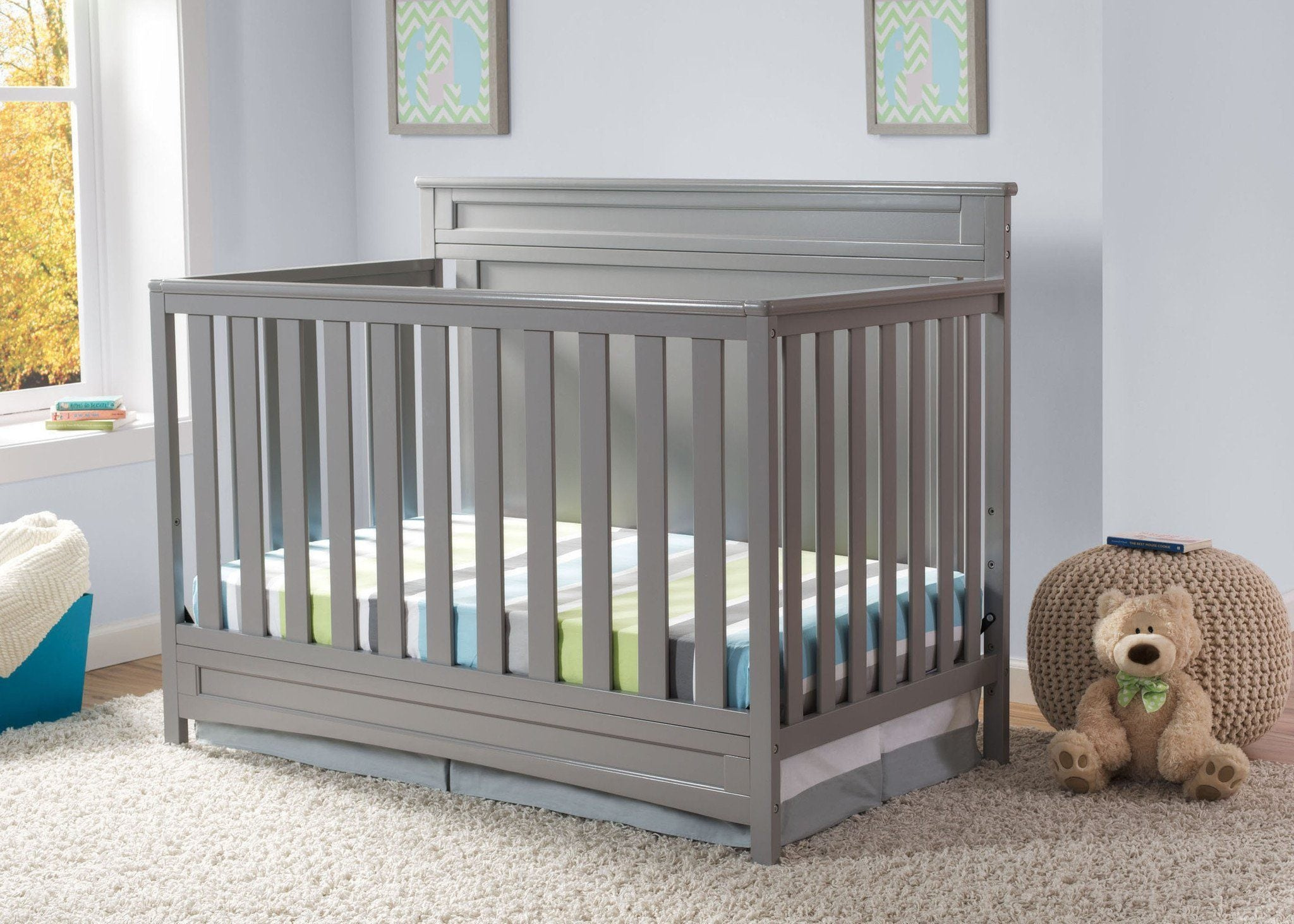 Delta Children Grey (026) Prescott 4-in-1 Crib, Crib Conversion, Detailed View a1a