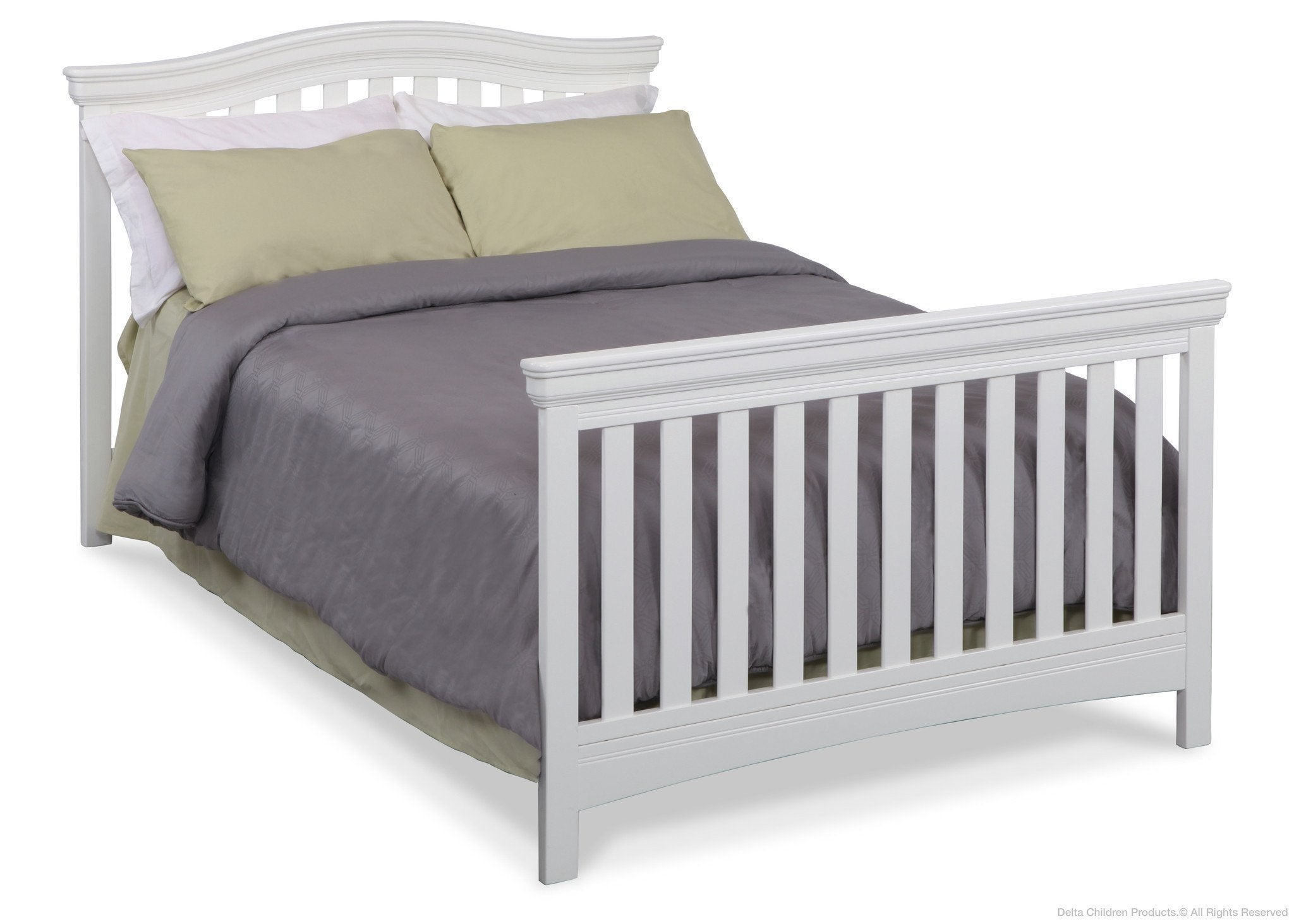 Delta Children White Ambiance (108) Bennington Curved 4-in-1 Crib Full Bed Conversion a5a