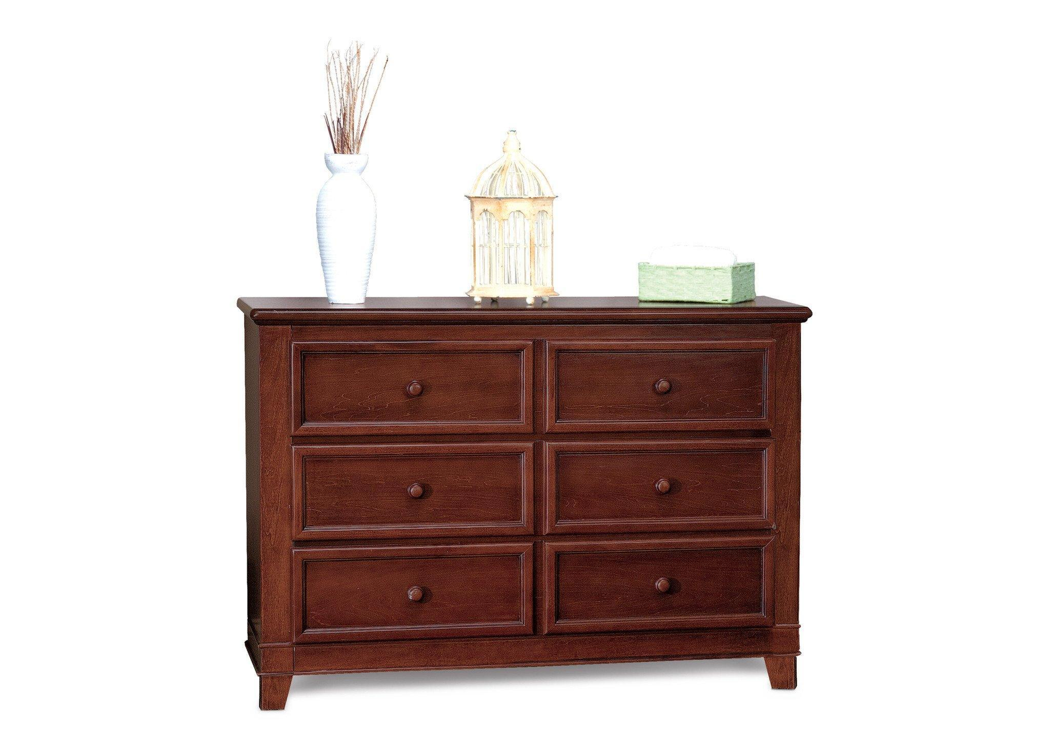 Delta Children Caramel (233) Westin 3 Drawer Dresser, Right View with Props a1a