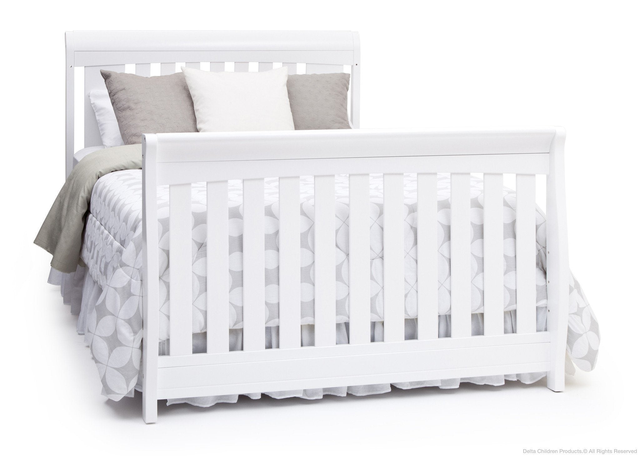 Delta Children Bianca White (130) Clermont 4-in-1 Crib, Full-Size Bed Conversion a5a